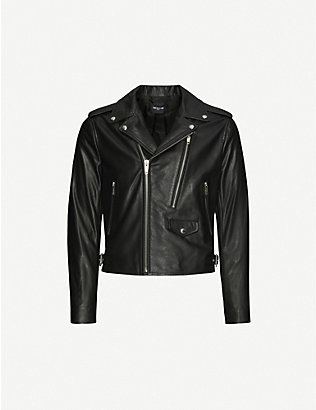 THE KOOPLES: Regular-fit leather biker jacket