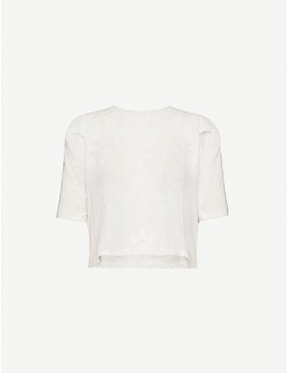 THE KOOPLES SPORT: Broderie anglaise cotton top