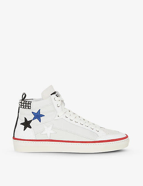 THE KOOPLES: Star appliqué leather high-top trainers
