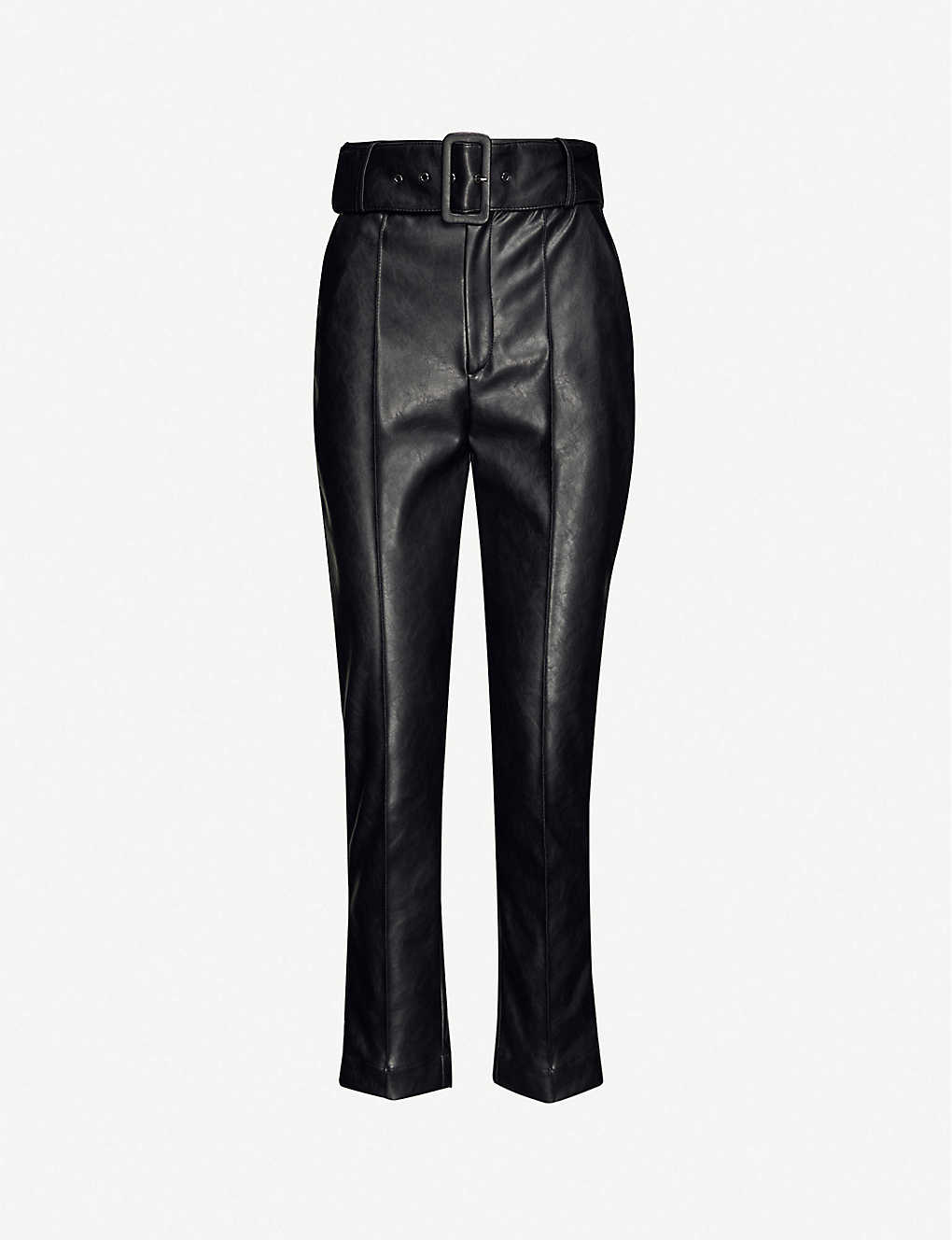 THE KOOPLES: Faux-leather high-rise stretch-jersey trousers