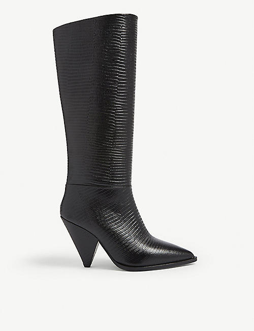 THE KOOPLES Snakeskin-embossed leather heeled boots