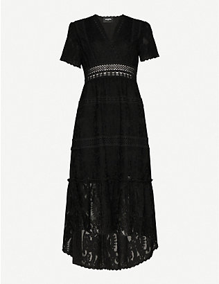 THE KOOPLES: Chrochet V-neck stretch-lace midi dress