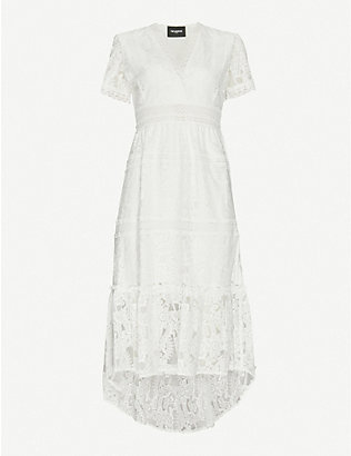 THE KOOPLES: V-neck stretch-lace midi dress