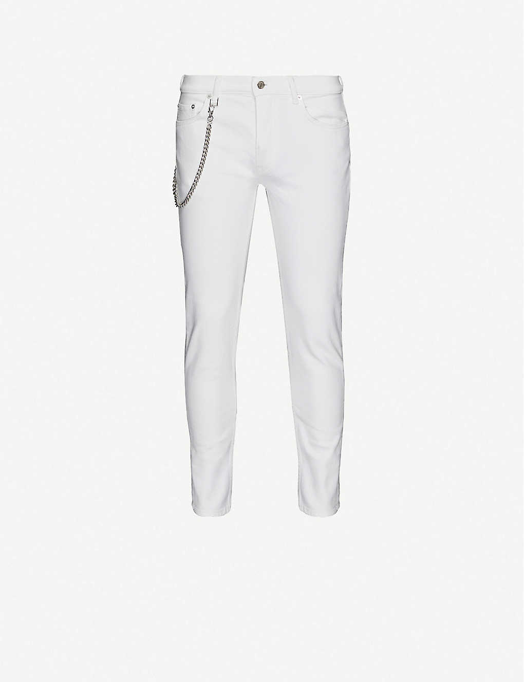 THE KOOPLES: Chain-embellished skinny stretch-denim jeans