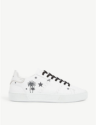 THE KOOPLES: Star-printed leather low-top trainers
