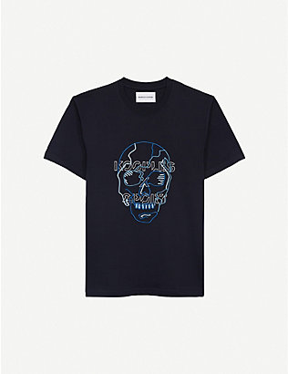 THE KOOPLES SPORT: Skull-embroidered cotton-jersey T-shirt