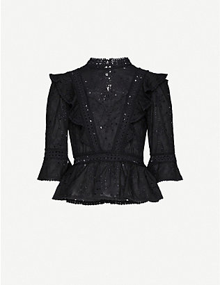 THE KOOPLES: High-neck broderie anglaise cotton top