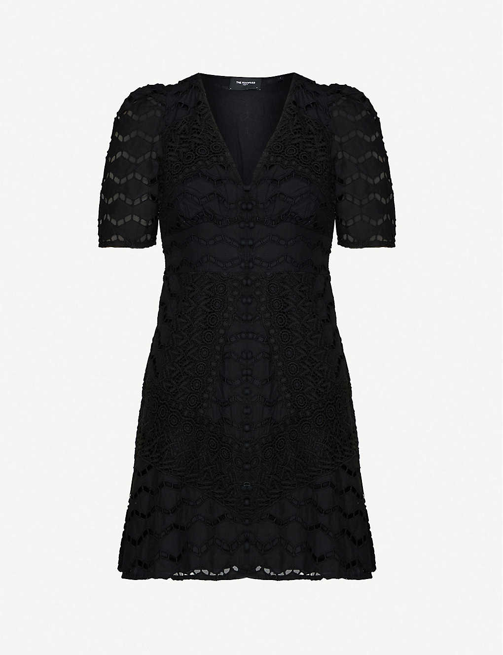 THE KOOPLES: Lace-embroidered cotton mini dress