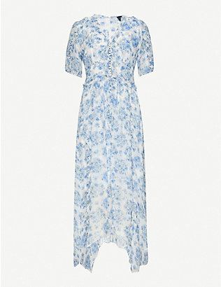 THE KOOPLES: Floral V-neck chiffon midi dress