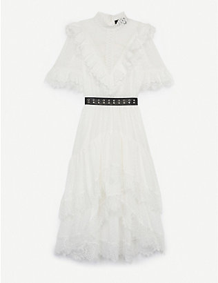 THE KOOPLES: Lace-embellished woven midi dress