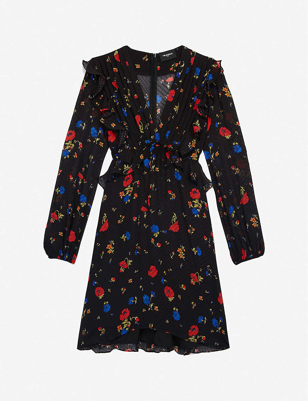 THE KOOPLES: Floral-print peplum silk mini dress