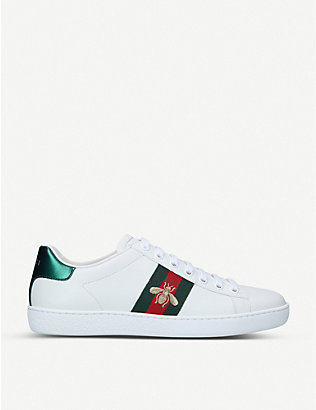 GUCCI: New Ace bee-embroidered leather low-top trainers