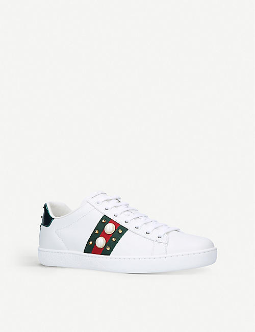 GUCCI New Ace pearl-trim leather trainers