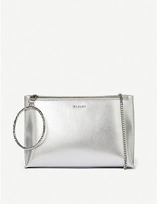 TED BAKER: Grained leather bracelet clutch