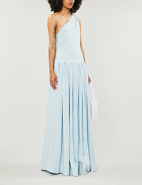 STAUD One-shoulder ribbed woven gown