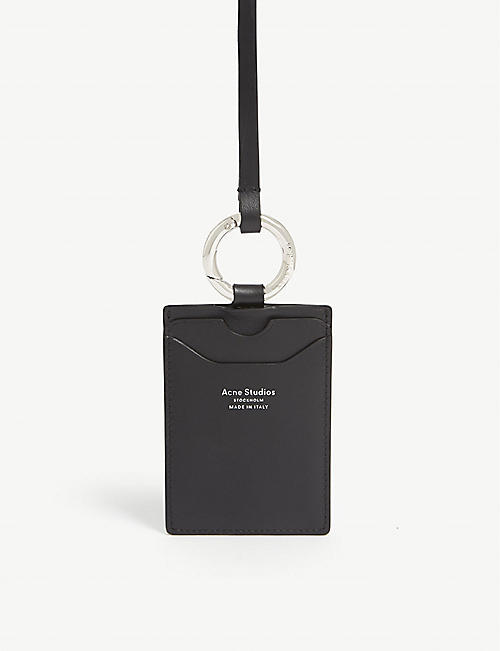 ACNE STUDIOS: Foil logo leather lanyard card holder