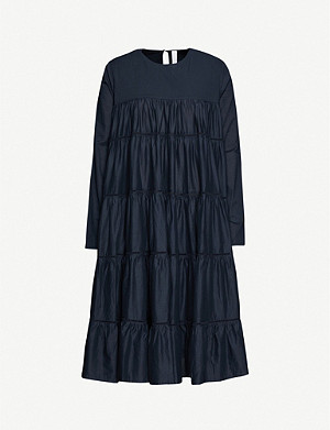 MERLETTE Essaouria tiered cotton-poplin midi dress