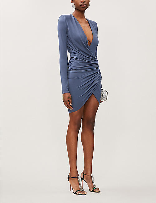 ALEXANDRE VAUTHIER V-neck gathered stretch-jersey mini dress