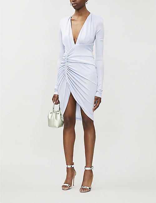 ALEXANDRE VAUTHIER V-neck gathered stretch-woven dress