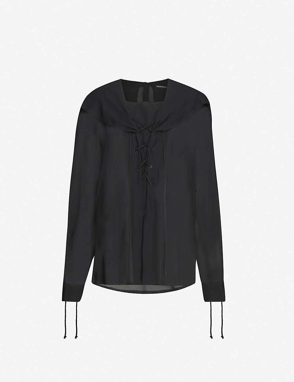 ANN DEMEULEMEESTER: Sailor-collar crepe shirt