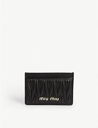 MIU MIU: Quilted matelasse leather card holder