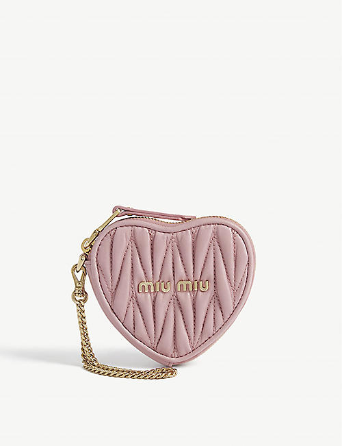 MIU MIU Matelassé heart leather coin purse