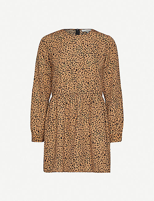 NEVER FULLY DRESSED Animal-print crepe mini dress