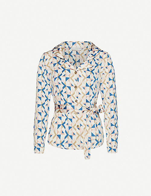 NEVER FULLY DRESSED Chester geometric-print crepe shirt