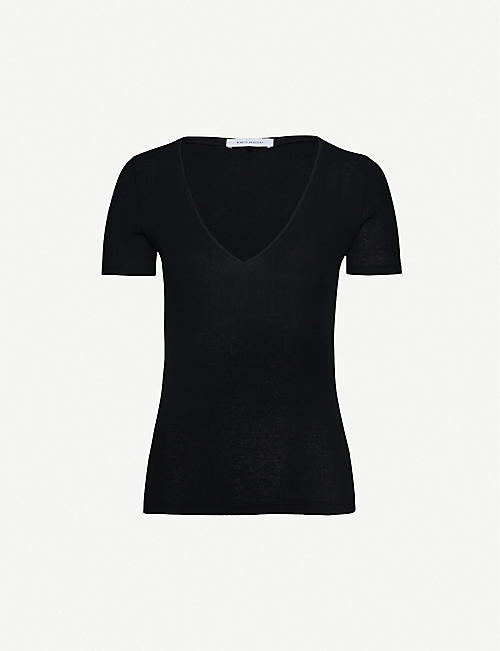 NINETY PERCENT V-neck cotton-jersey T-shirt