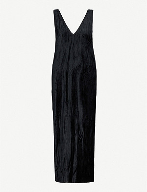 NINETY PERCENT Velour V-neck midi dress