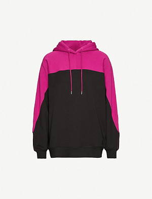 NINETY PERCENT Contrasting-panel cotton-jersey hoody
