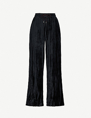 NINETY PERCENT Wide-leg velour trousers