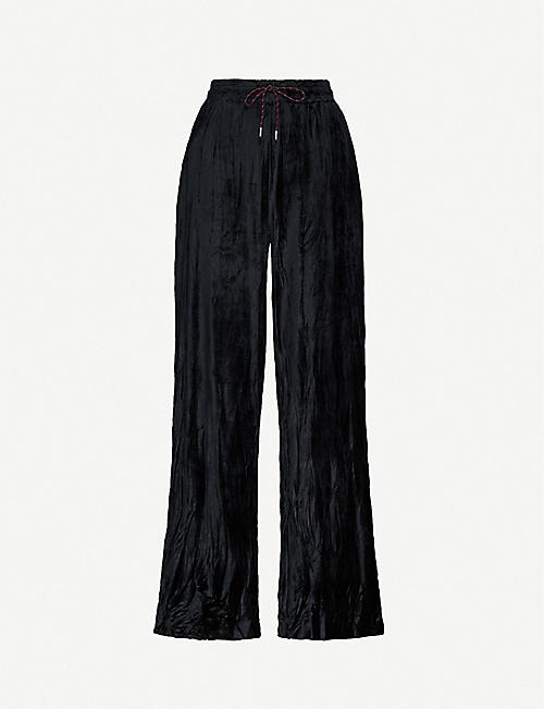 NINETY PERCENT: Wide-leg velour trousers
