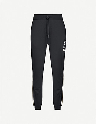 BOSS: Logo-print tapered cotton-jersey jogging bottoms