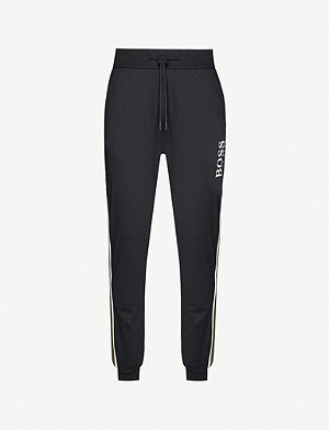 BOSS Logo-print tapered cotton-jersey jogging bottoms