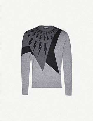 NEIL BARRETT: Graphic-pattern wool, silk and cashmere-blend jumper