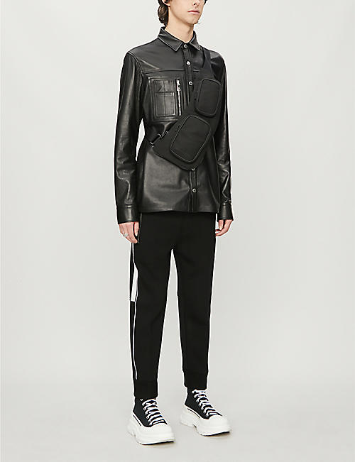 NEIL BARRETT Side-piping stretch-jersey jogging bottoms