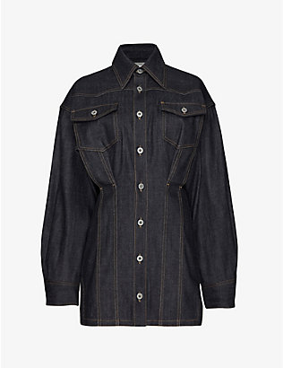 FENTY: Corset-stitched stretch-denim mini dress