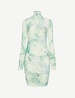 FENTY Floral-print turtleneck stretch-jersey mini dress