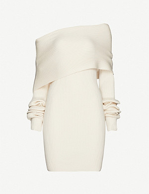 FENTY Off-the-shoulder wool and silk-blend mini dress