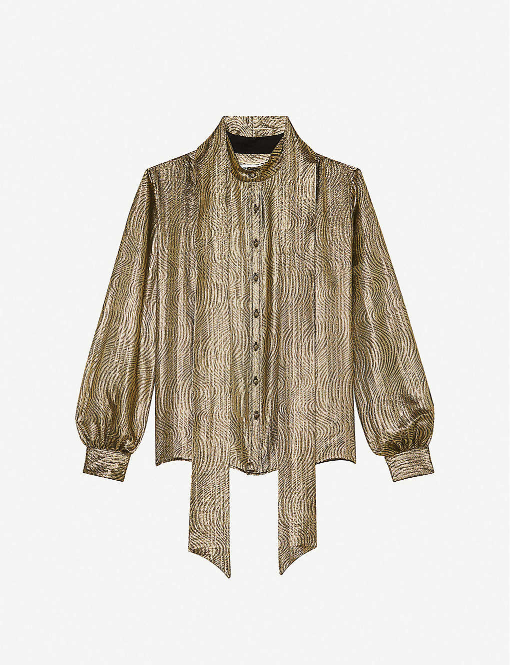 SAINT LAURENT: Detachable necktie lamé silk-blend blouse