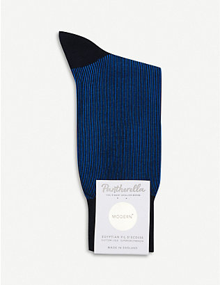PANTHERELLA: Shadow Rib Mercerised Egyptian Cotton socks