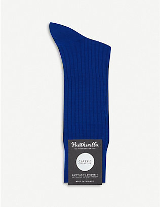 PANTHERELLA: Mercerised Egyptian Cotton ribbed socks