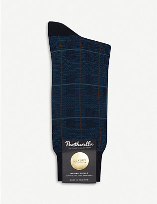 PANTHERELLA: Chesham windowpane check wool-blend socks