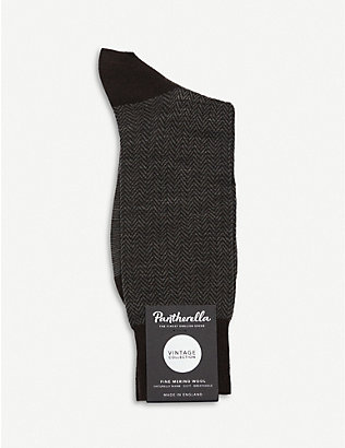 PANTHERELLA: Finsbury herringbone wool-blend socks