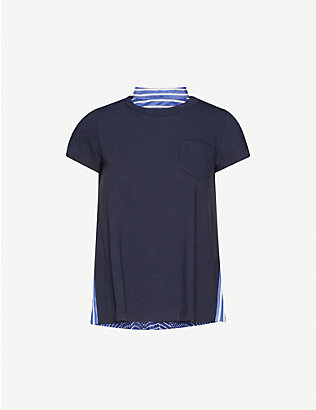 SACAI: Striped-back asymmetric cotton T-shirt
