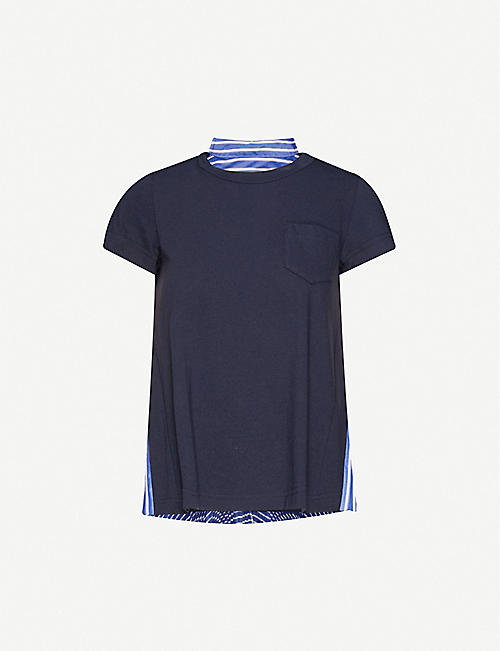 SACAI Striped-back asymmetric cotton T-shirt