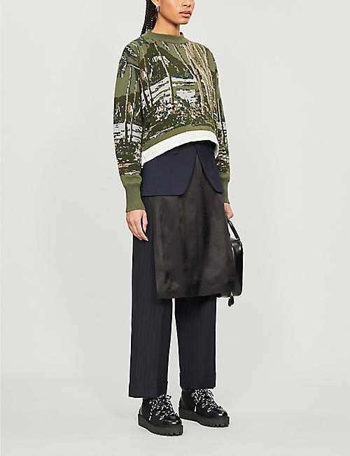 SACAI Patterned cotton-knitted jumper
