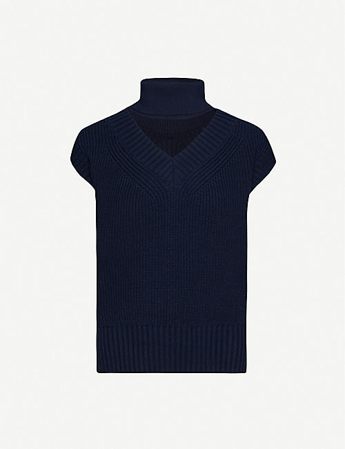SACAI: Turtleneck cut-out sleeveless knitted jumper