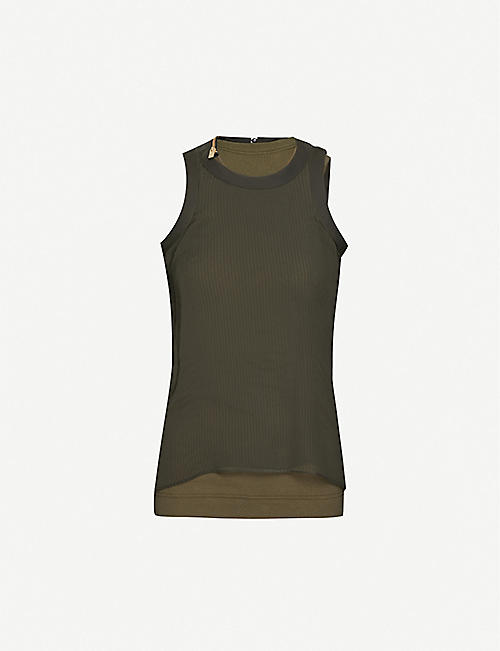 SACAI Layered sleeveless chiffon and cotton-blend tank top